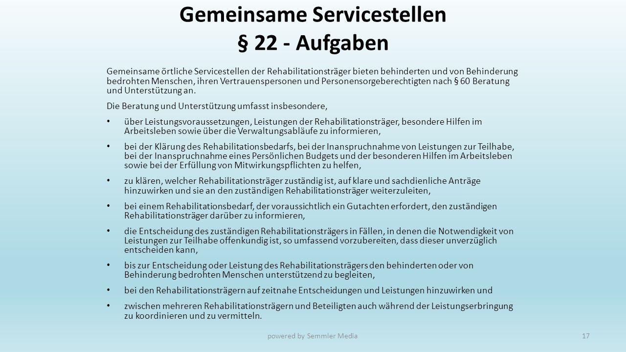 Gemeinsame Servicestellen § 22 - Aufgaben