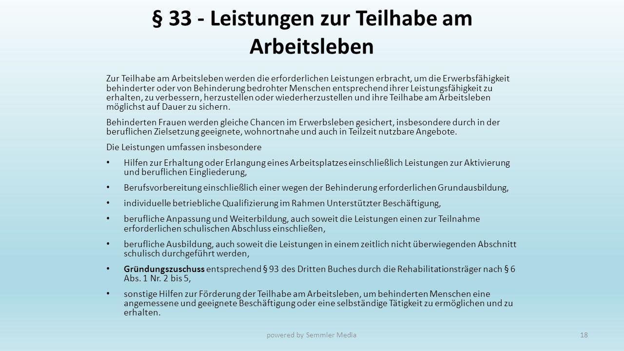 § 33 - Leistungen zur Teilhabe am Arbeitsleben