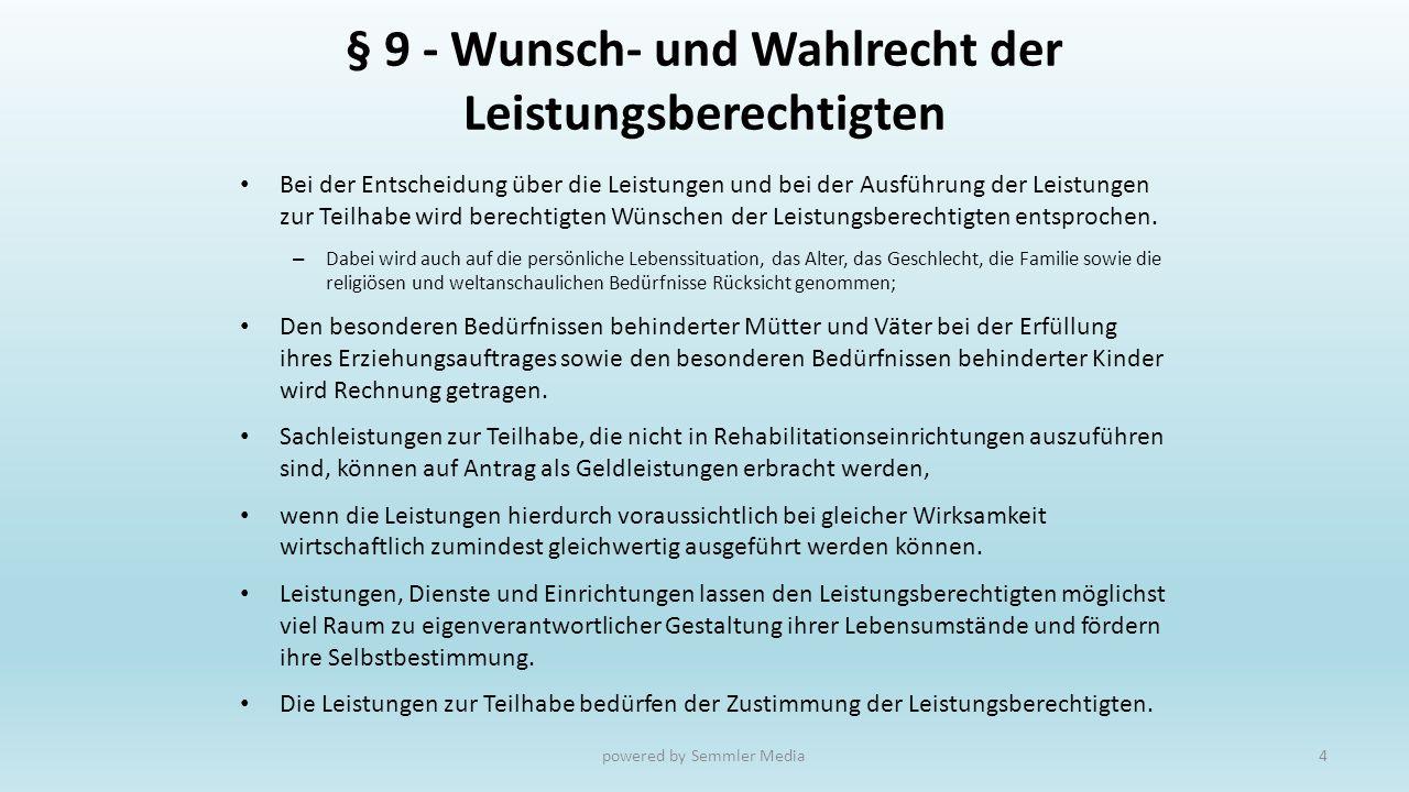 § 9 - Wunsch- und Wahlrecht der Leistungsberechtigten
