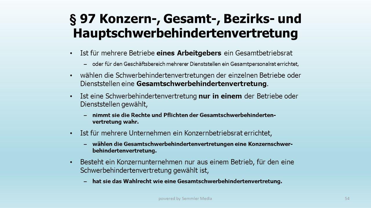 § 97 Konzern-, Gesamt-, Bezirks- und Hauptschwerbehindertenvertretung