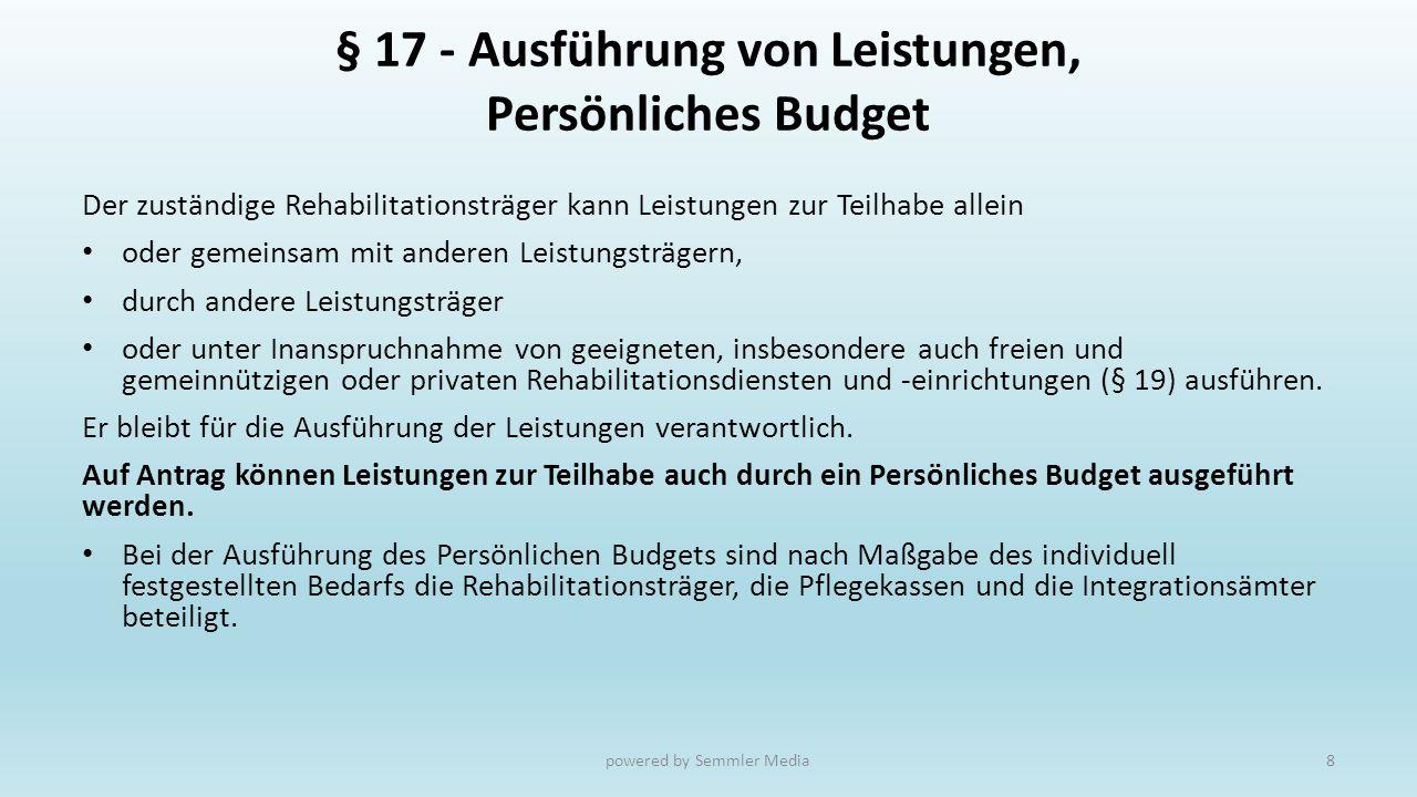 § 17 - Ausführung von Leistungen, Persönliches Budget