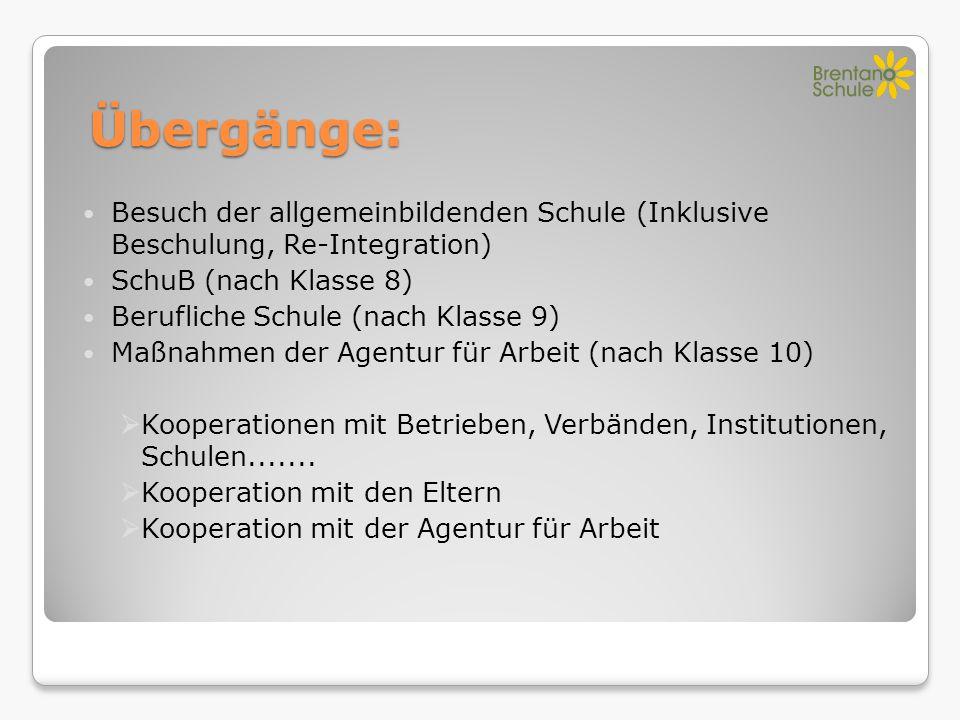 Übergänge: Besuch der allgemeinbildenden Schule (Inklusive Beschulung, Re-Integration) SchuB (nach Klasse 8)