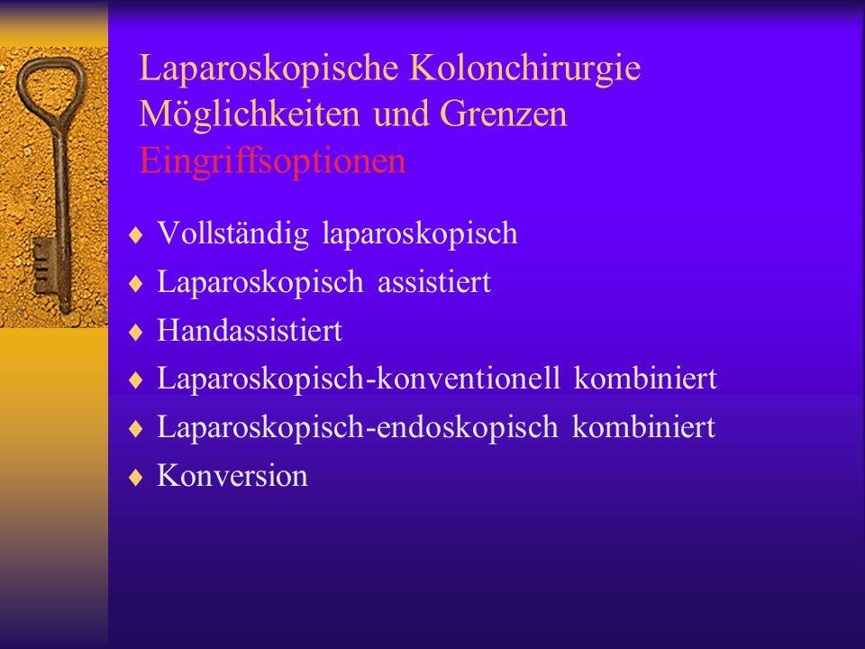 Laparoskopische Kolonchirurgie Möglichkeiten und Grenzen Eingriffsoptionen