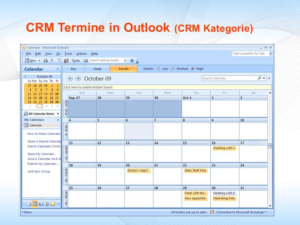 CRM Termine in Outlook (CRM Kategorie)