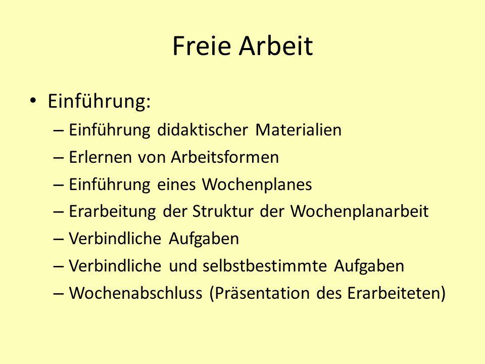 Freie Arbeit Einführung: Einführung didaktischer Materialien