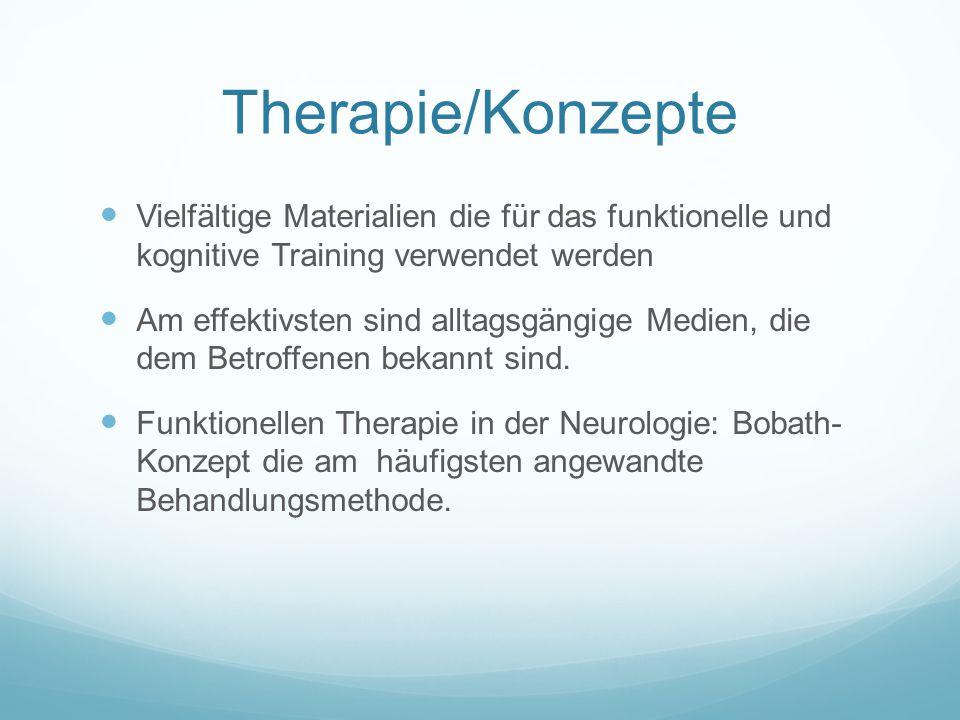 Therapie/Konzepte Vielfältige Materialien die für das funktionelle und kognitive Training verwendet werden.