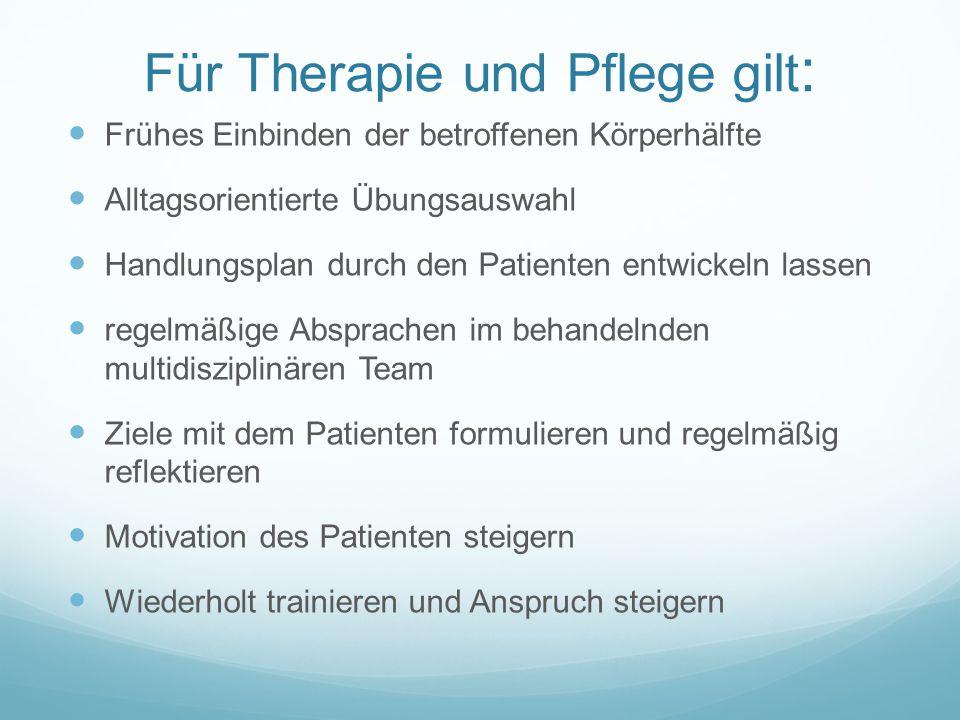 Für Therapie und Pflege gilt: