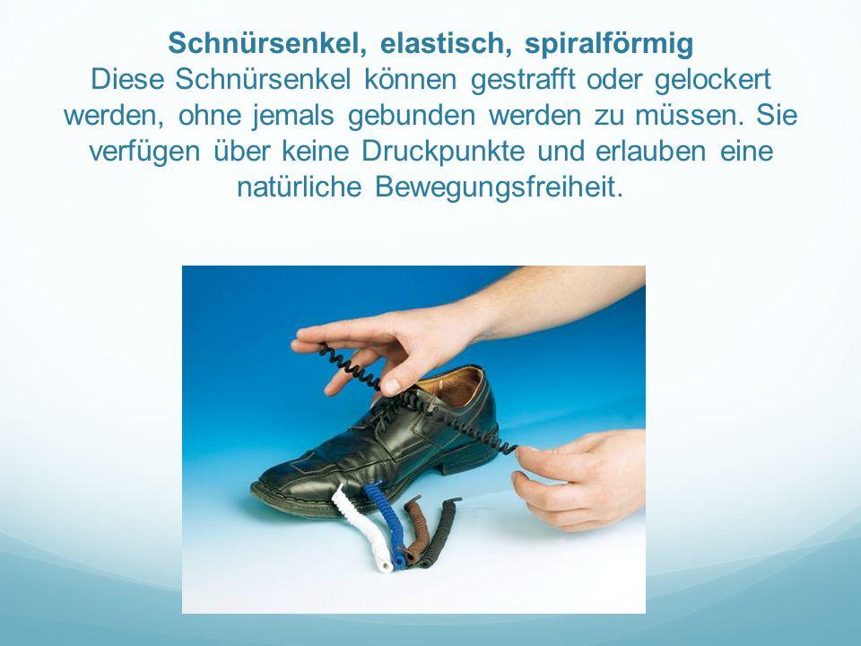 Schnürsenkel, elastisch, spiralförmig Diese Schnürsenkel können gestrafft oder gelockert werden, ohne jemals gebunden werden zu müssen.