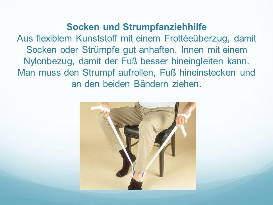 Socken und Strumpfanziehhilfe Aus flexiblem Kunststoff mit einem Frottéeüberzug, damit Socken oder Strümpfe gut anhaften.
