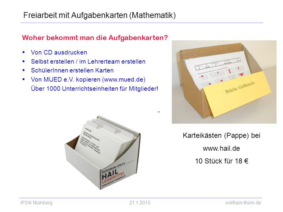 Freiarbeit mit Aufgabenkarten (Mathematik)