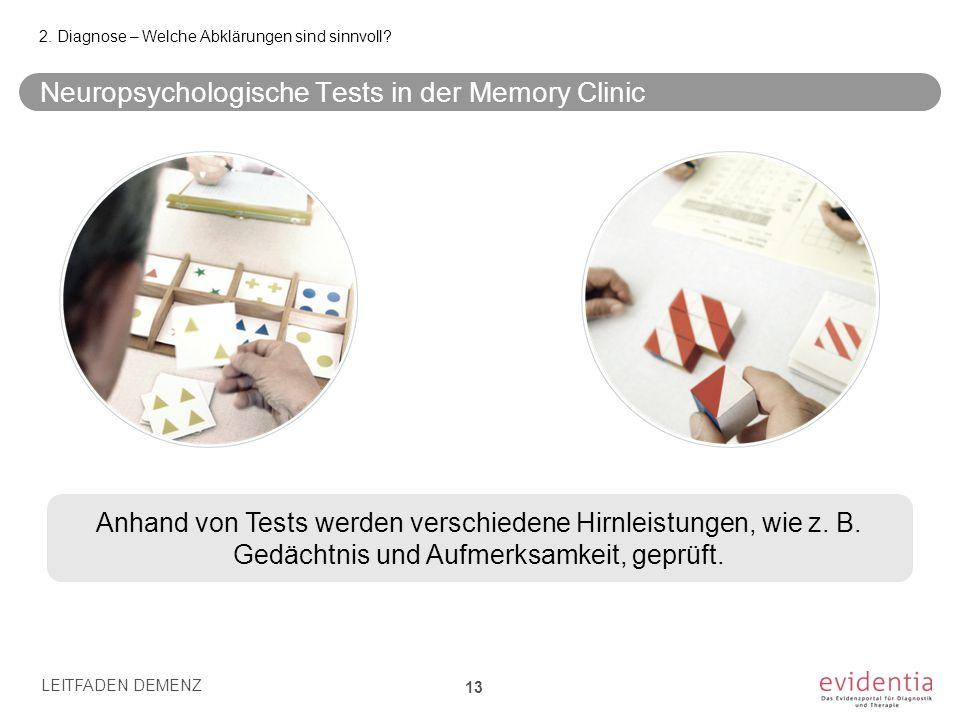 Neuropsychologische Tests in der Memory Clinic