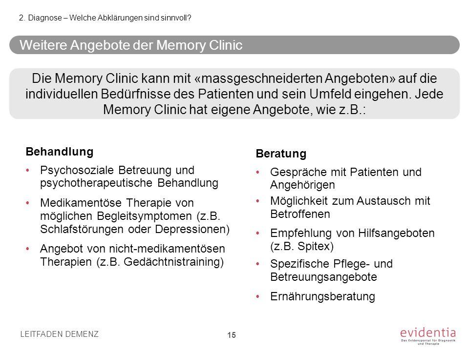 Weitere Angebote der Memory Clinic