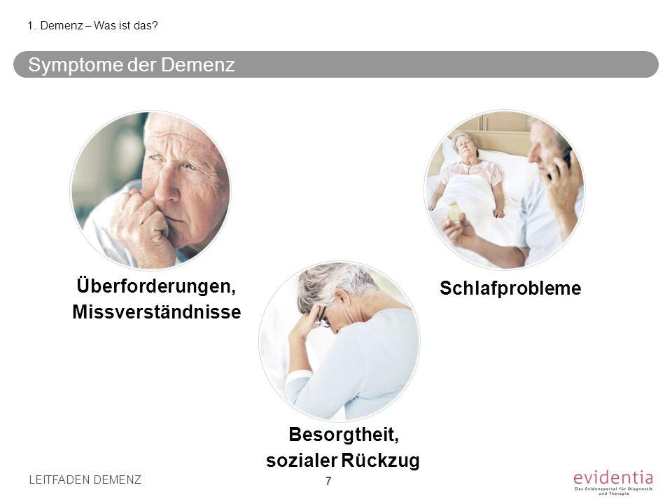 Symptome der Demenz Überforderungen, Schlafprobleme Missverständnisse