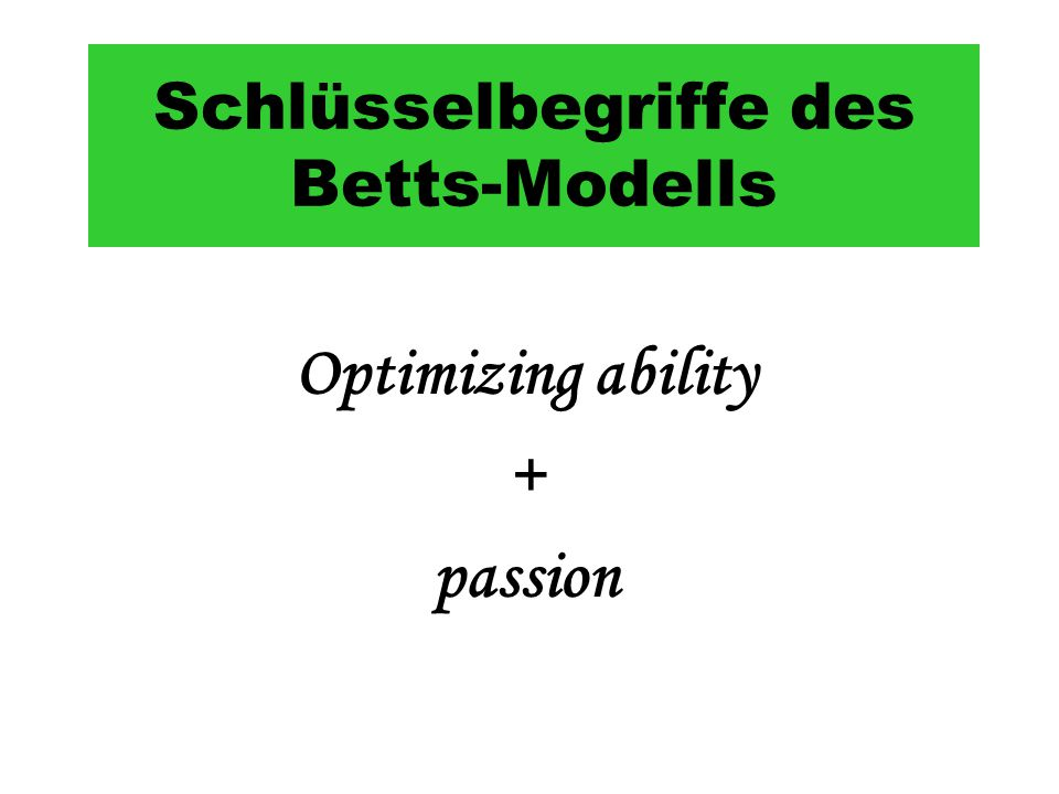 Schlüsselbegriffe des Betts-Modells