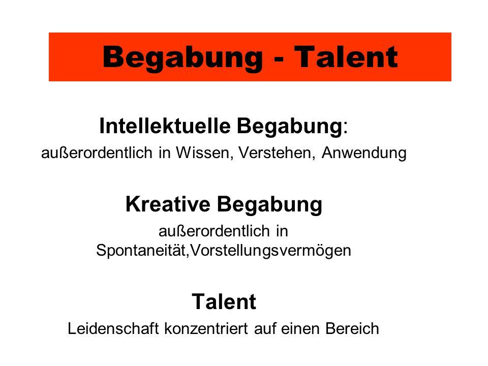 Begabung - Talent Intellektuelle Begabung: Kreative Begabung Talent