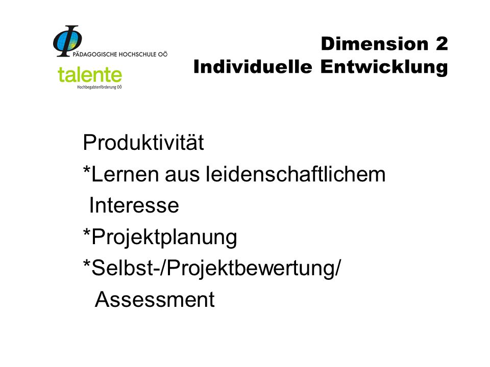 Dimension 2 Individuelle Entwicklung