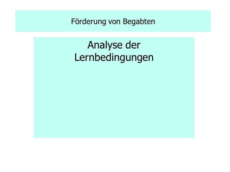 Analyse der Lernbedingungen