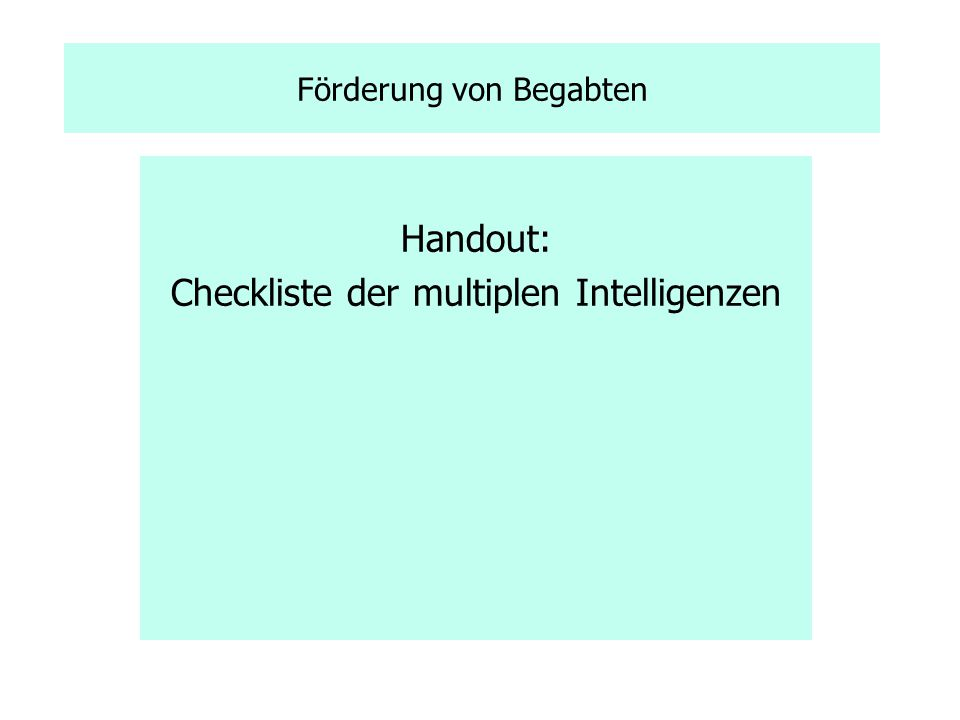 Checkliste der multiplen Intelligenzen