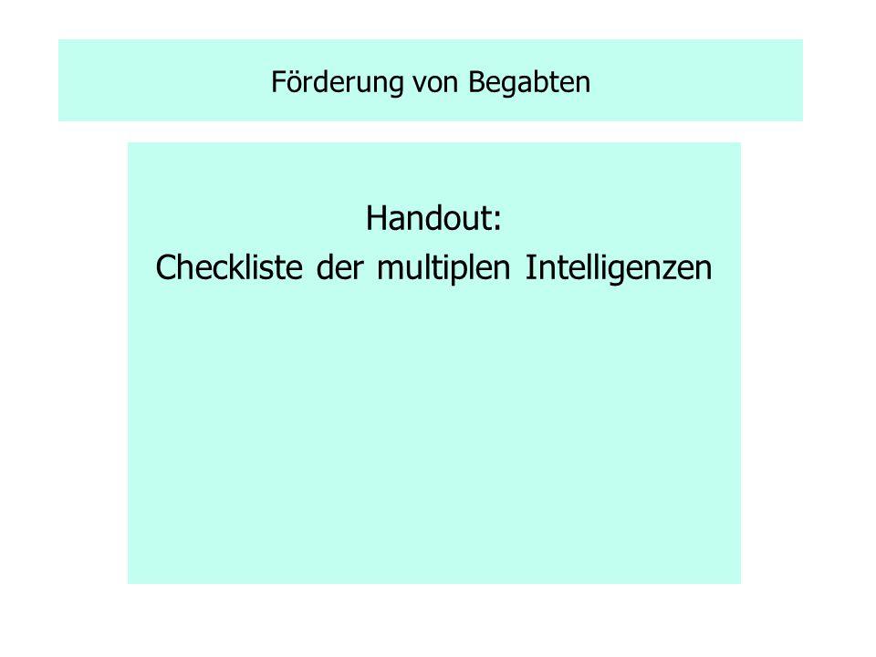 Checkliste der multiplen Intelligenzen