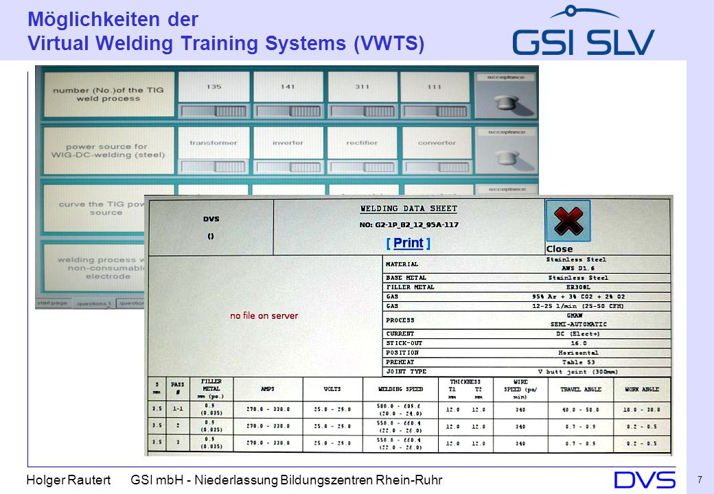 Möglichkeiten der Virtual Welding Training Systems (VWTS)