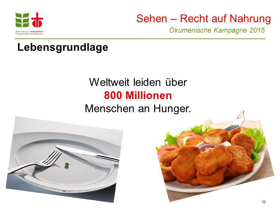 Weltweit leiden über 800 Millionen Menschen an Hunger.