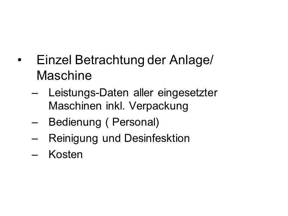 Einzel Betrachtung der Anlage/ Maschine