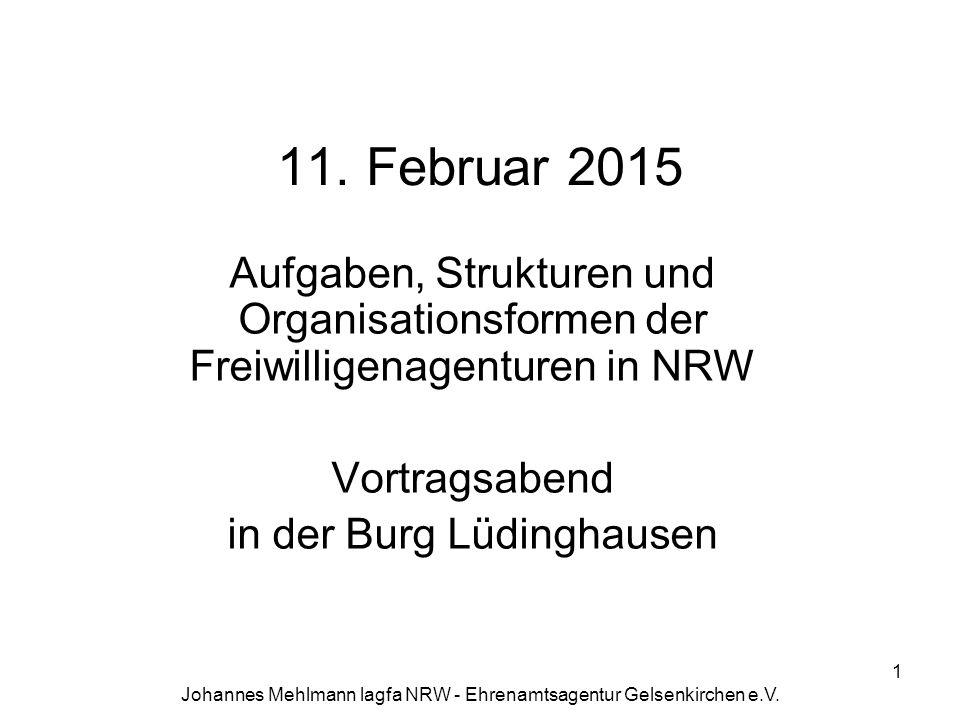 11. Februar 2015 Aufgaben, Strukturen und Organisationsformen der Freiwilligenagenturen in NRW. Vortragsabend.