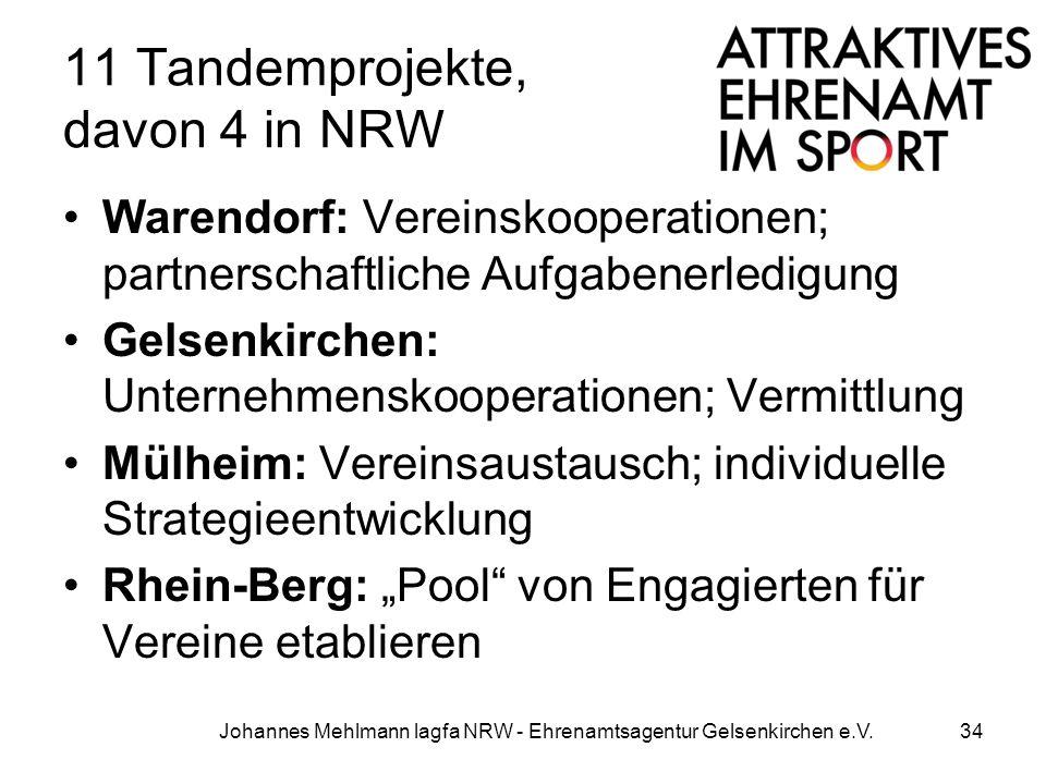 11 Tandemprojekte, davon 4 in NRW