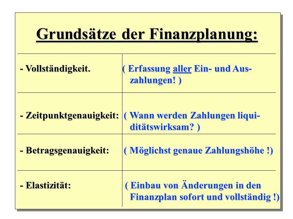 Grundsätze der Finanzplanung: