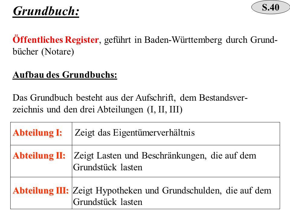 Grundbuch: Öffentliches Register, geführt in Baden-Württemberg durch Grund- bücher (Notare) Aufbau des Grundbuchs: