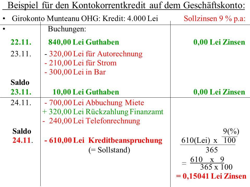 Beispiel für den Kontokorrentkredit auf dem Geschäftskonto: