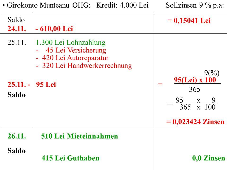 Girokonto Munteanu OHG: Kredit: 4.000 Lei Sollzinsen 9 % p.a: