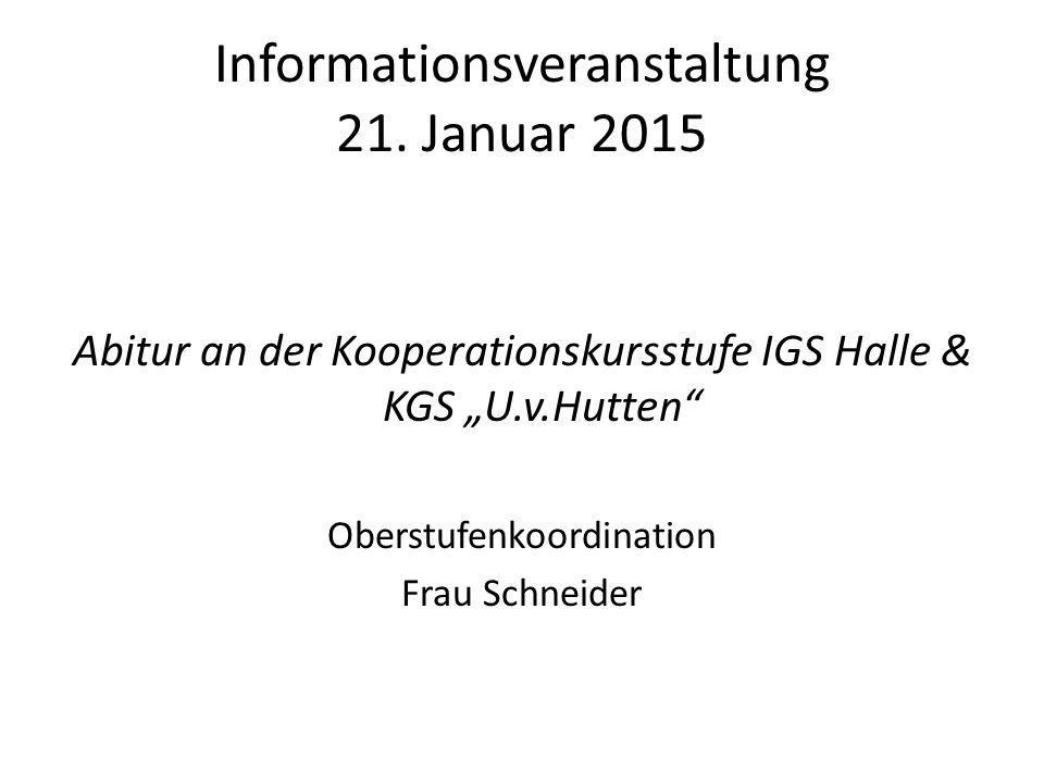 Informationsveranstaltung 21. Januar 2015