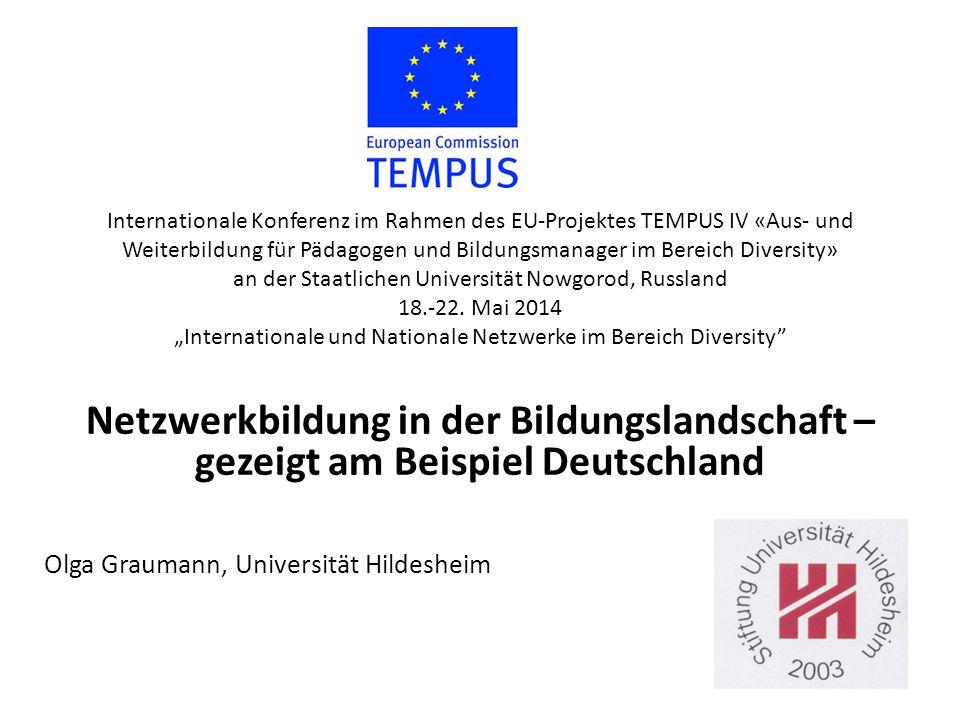 """Internationale Konferenz im Rahmen des EU-Projektes TEMPUS IV «Aus- und Weiterbildung für Pädagogen und Bildungsmanager im Bereich Diversity» an der Staatlichen Universität Nowgorod, Russland 18.-22. Mai 2014 """"Internationale und Nationale Netzwerke im Bereich Diversity"""