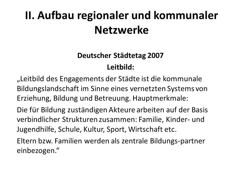 II. Aufbau regionaler und kommunaler Netzwerke