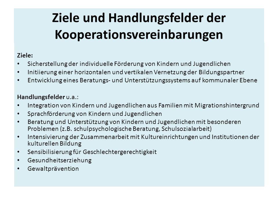 Ziele und Handlungsfelder der Kooperationsvereinbarungen
