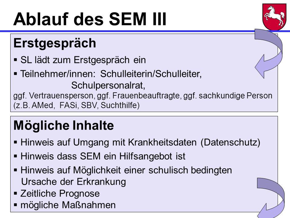 Ablauf des SEM III Erstgespräch Mögliche Inhalte