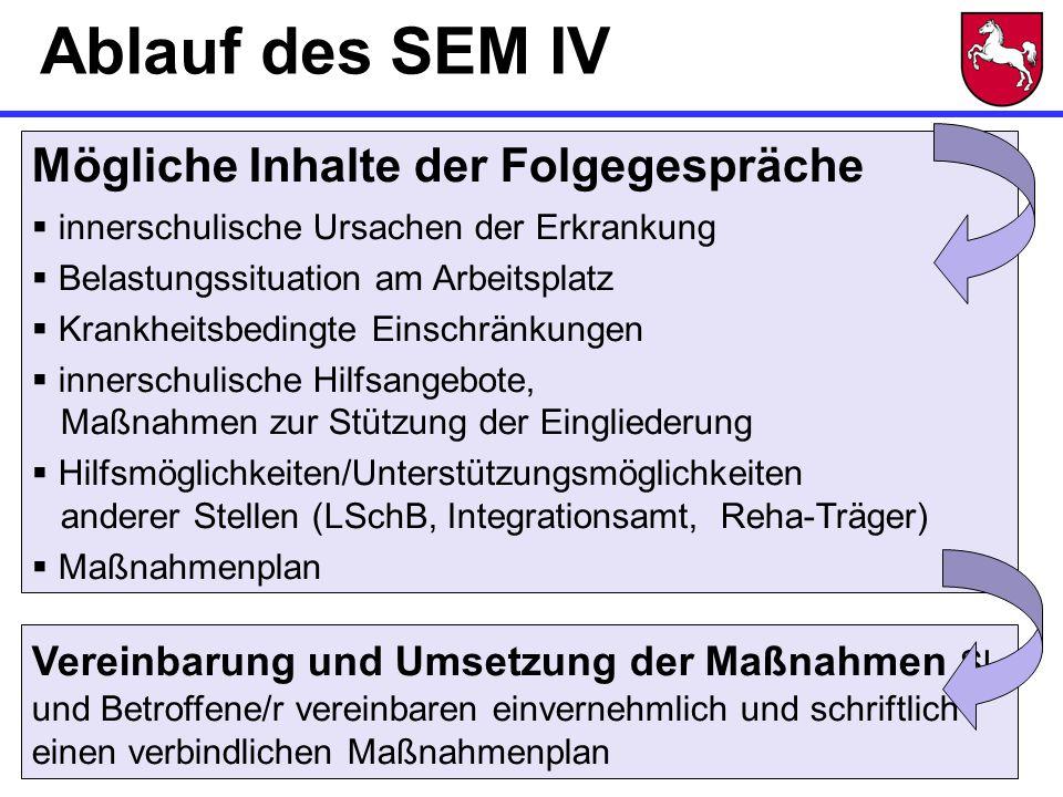 Ablauf des SEM IV Mögliche Inhalte der Folgegespräche