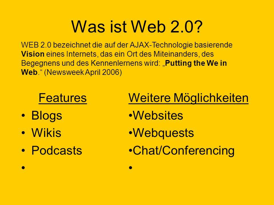 Was ist Web 2.0 Features Blogs Wikis Podcasts Weitere Möglichkeiten