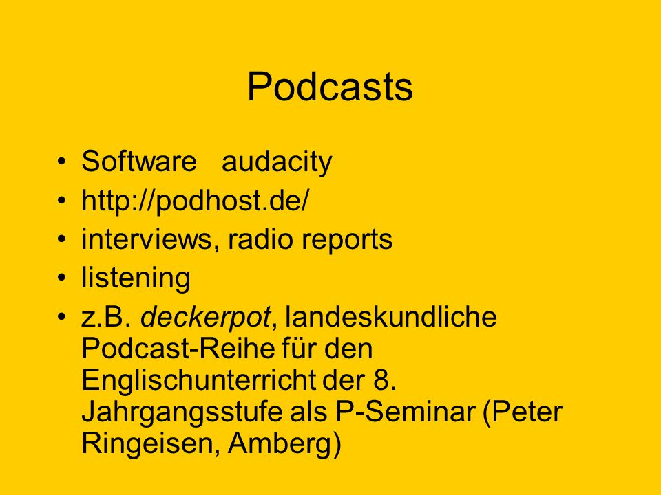 Podcasts Software audacity http://podhost.de/
