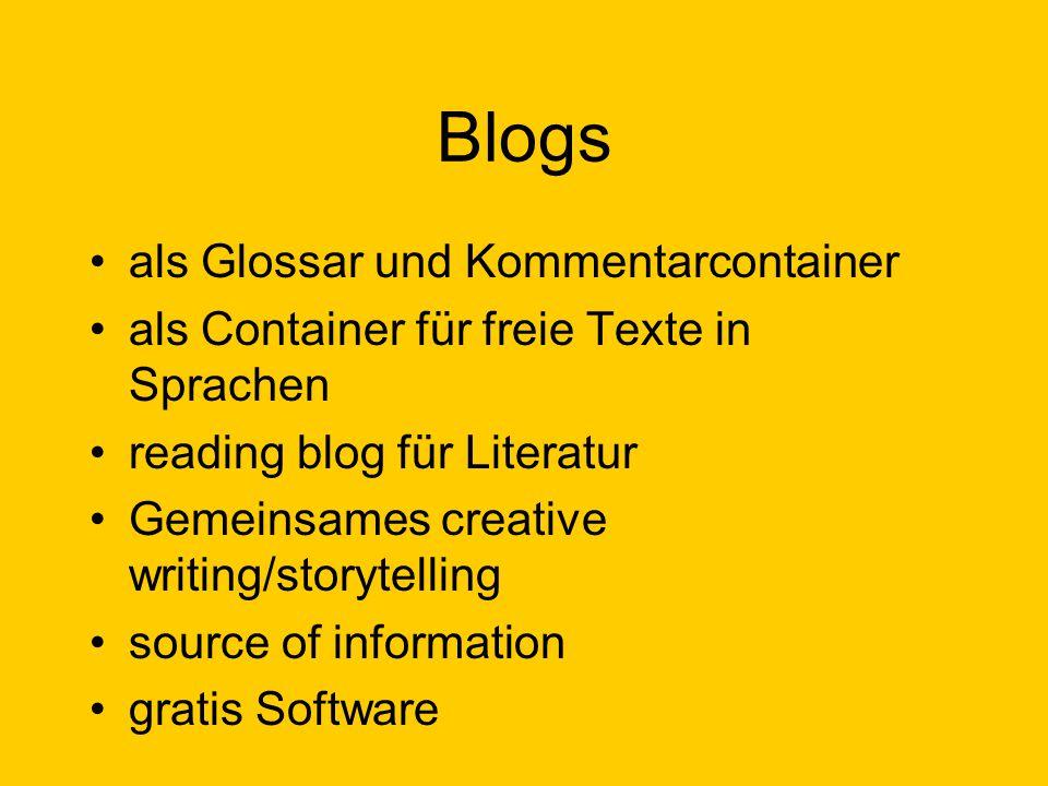 Blogs als Glossar und Kommentarcontainer