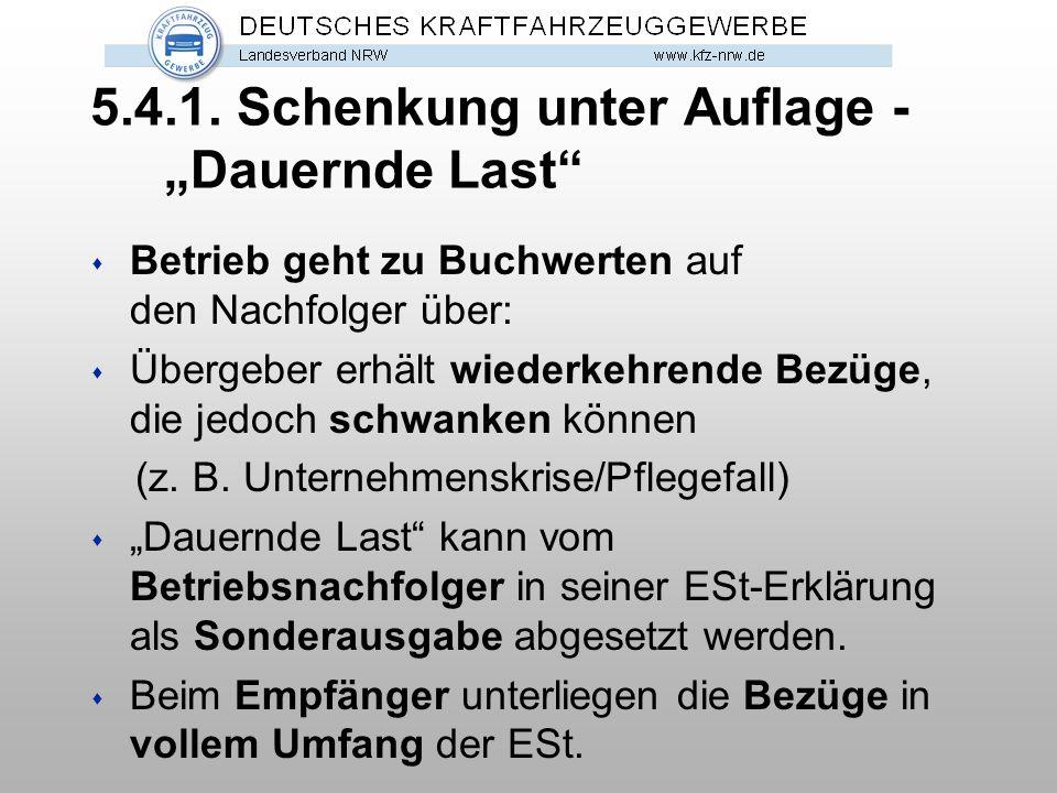 """5.4.1. Schenkung unter Auflage - """"Dauernde Last"""