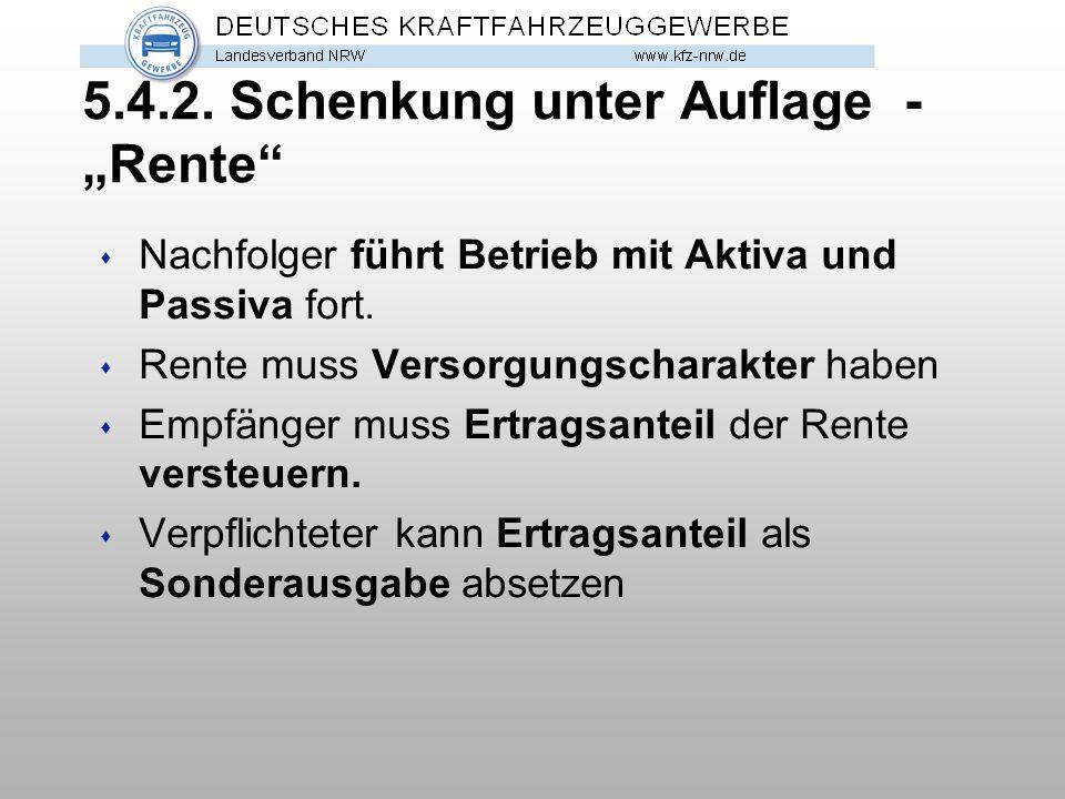 """5.4.2. Schenkung unter Auflage - """"Rente"""