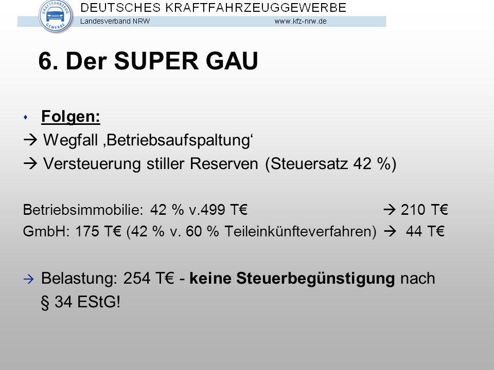 6. Der SUPER GAU Folgen:  Wegfall 'Betriebsaufspaltung'