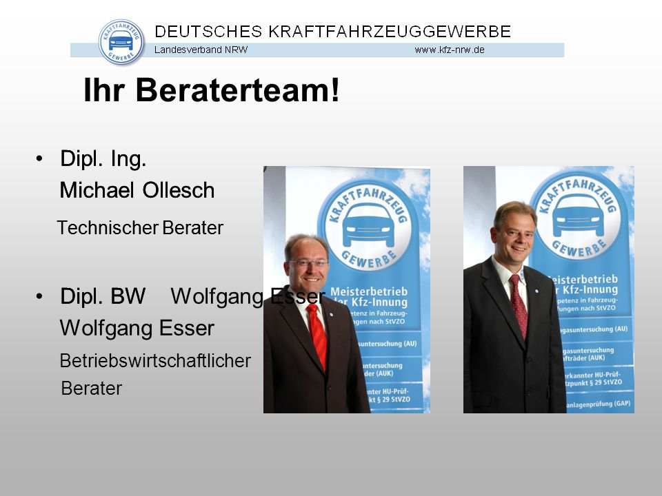 Ihr Beraterteam! Technischer Berater Technischer Berater Dipl. Ing.