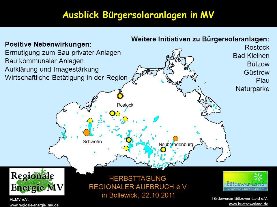 Ausblick Bürgersolaranlagen in MV