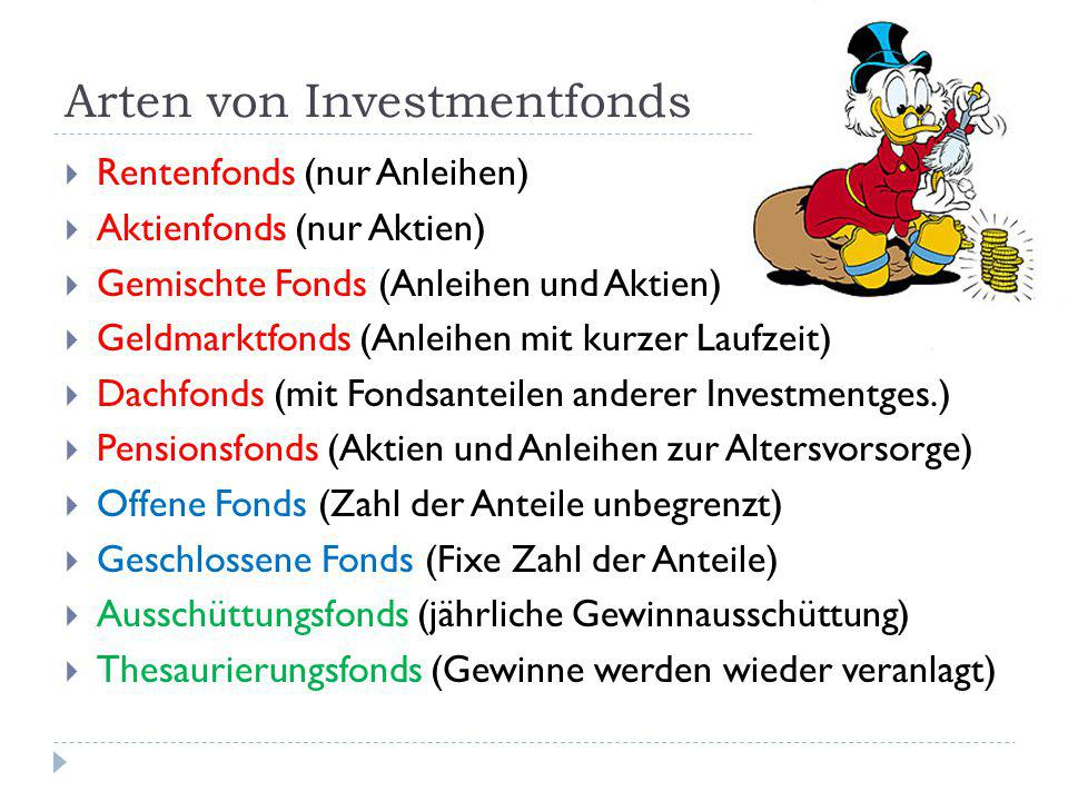 Arten von Investmentfonds