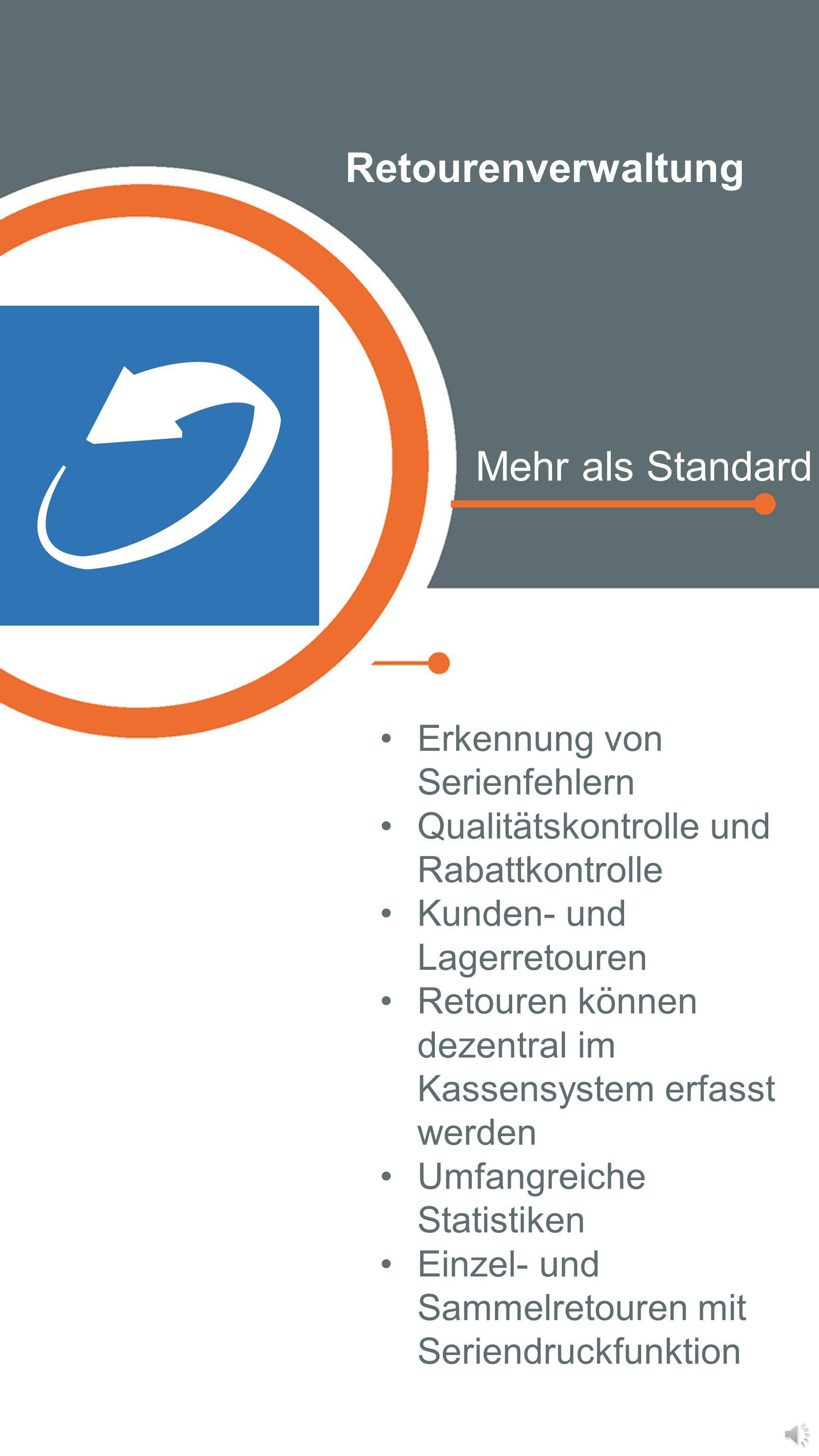 Retourenverwaltung Mehr als Standard Erkennung von Serienfehlern