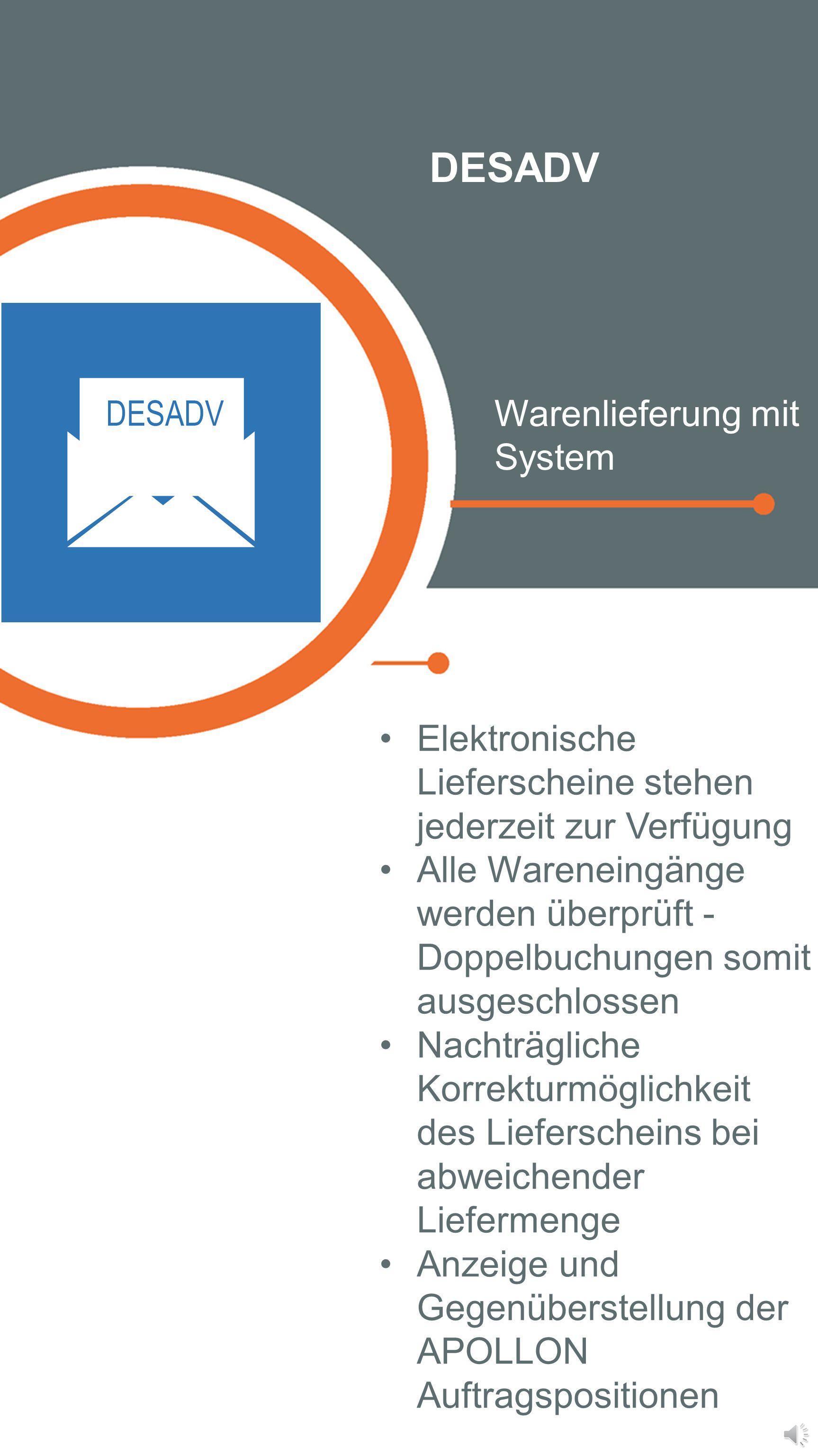 DESADV Warenlieferung mit System