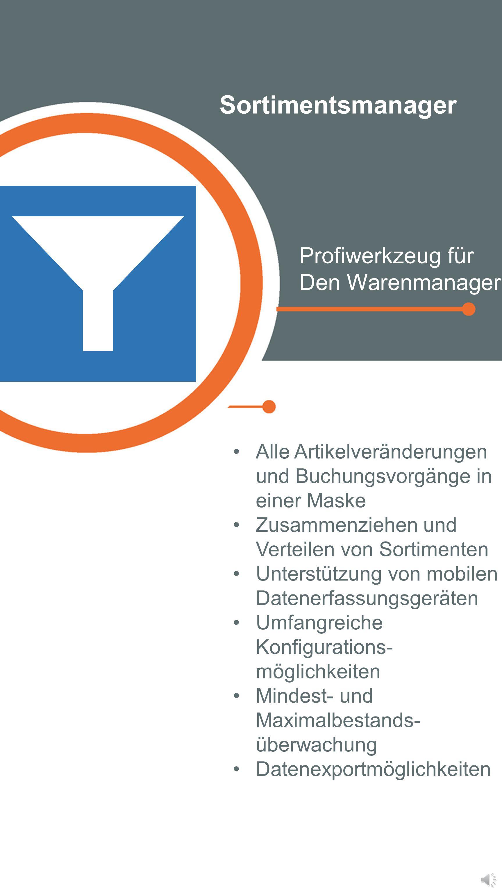 Sortimentsmanager Profiwerkzeug für Den Warenmanager